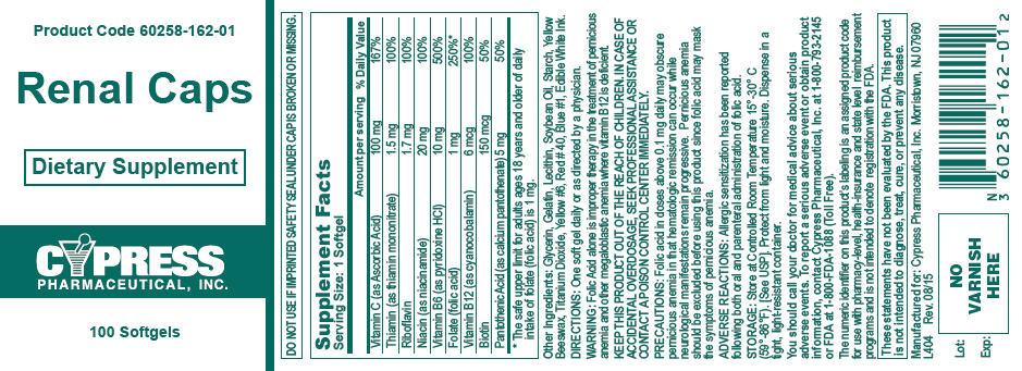 Renal Caps Dialysis Stress Vitamin Supplement Cypress